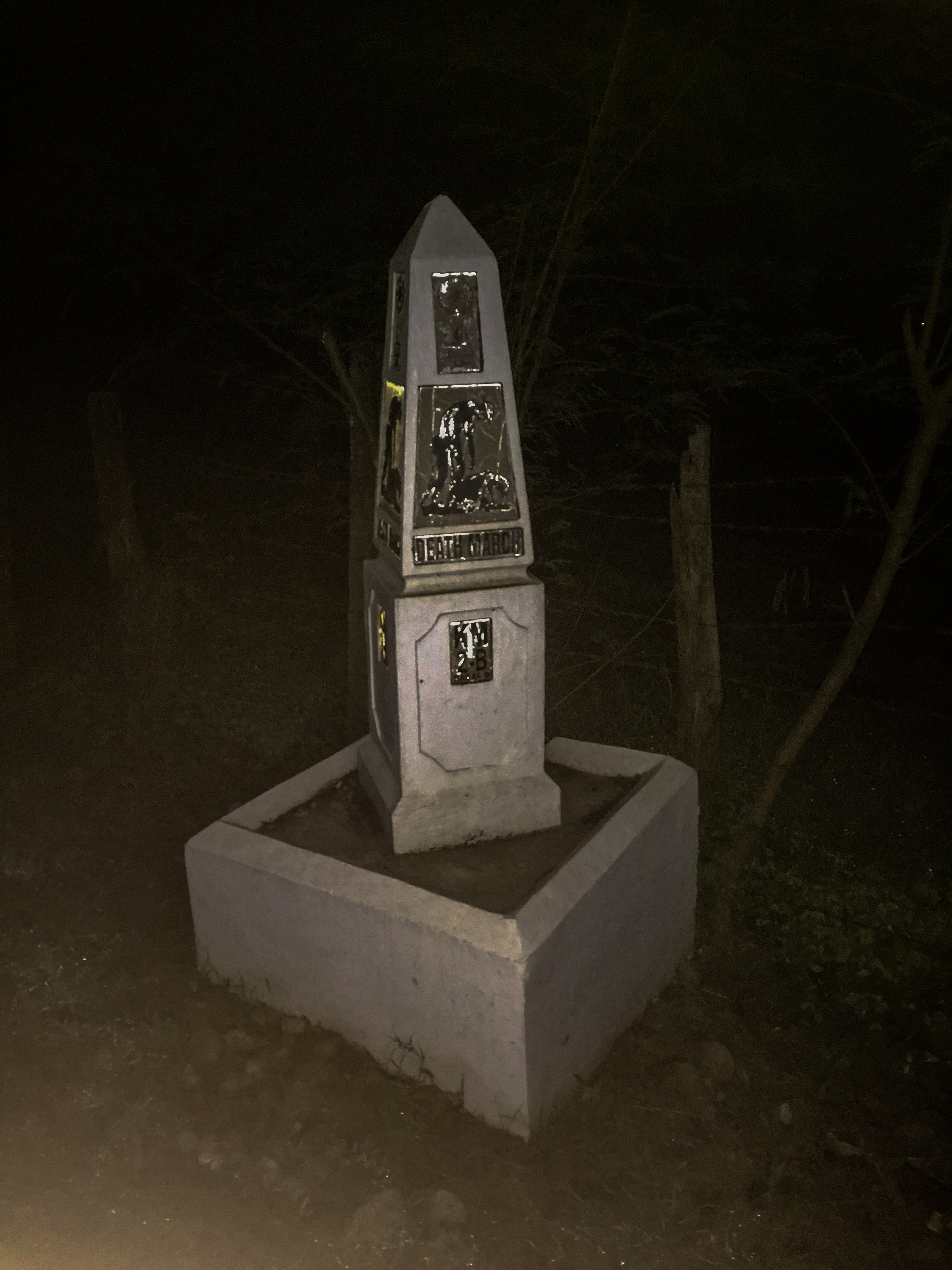 Bataan Death March Marker in Bagac Bataan Philippines at night