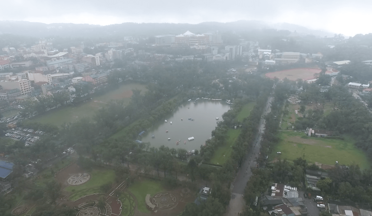 burnham park baguio city as seen from the sky drone images philippines