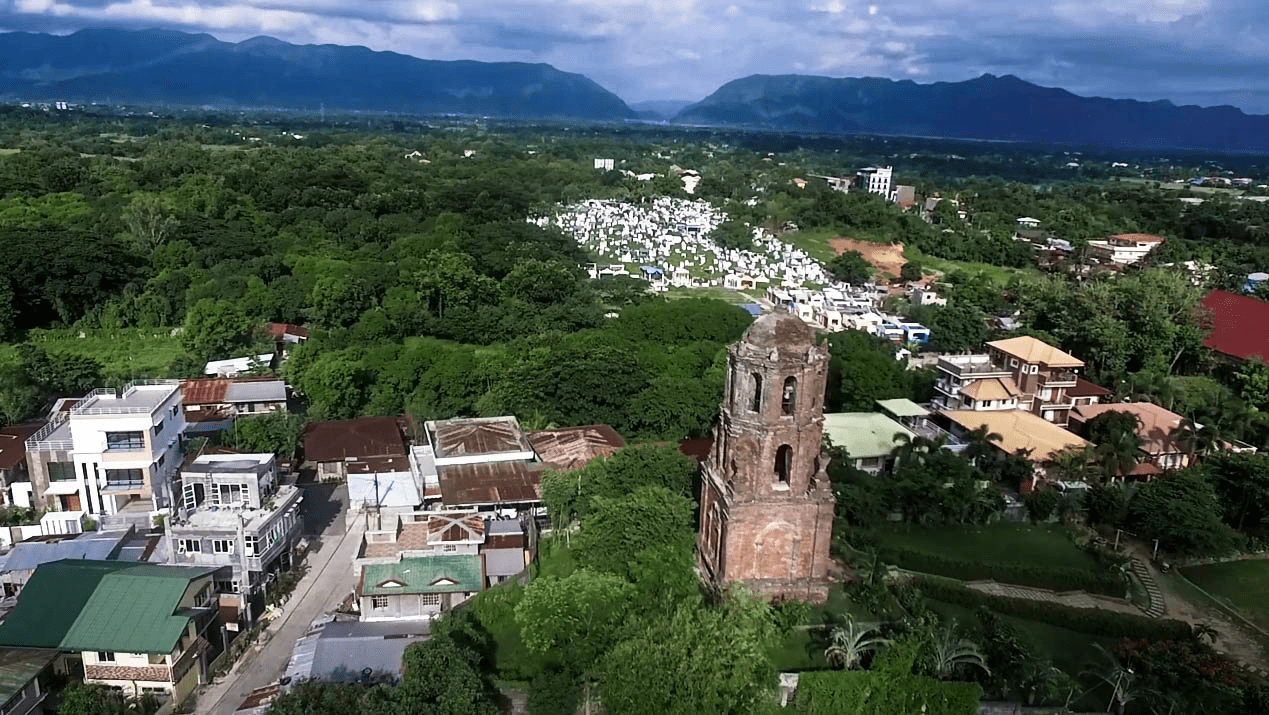 the bantay watchtower in vigan city ilocos sur philippines aerial view shot by drone