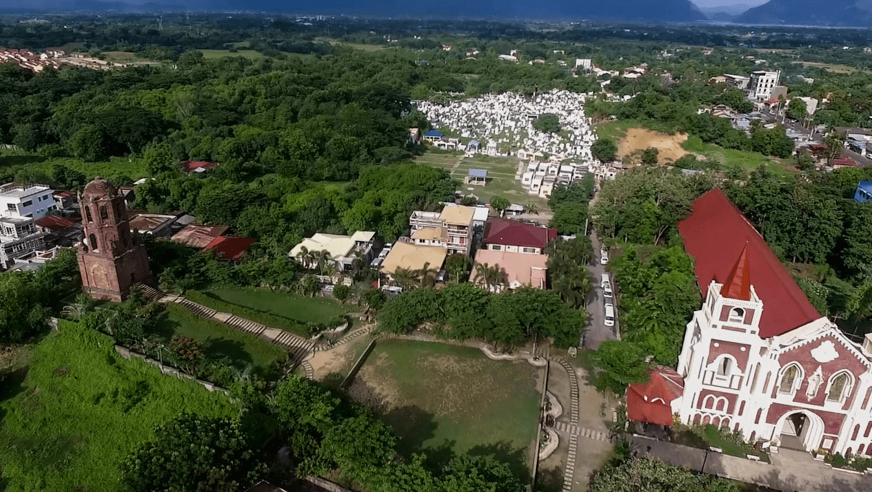 bantay belfry watchtower and church in vigan city ilocos sur philippine shot by drone photo from air