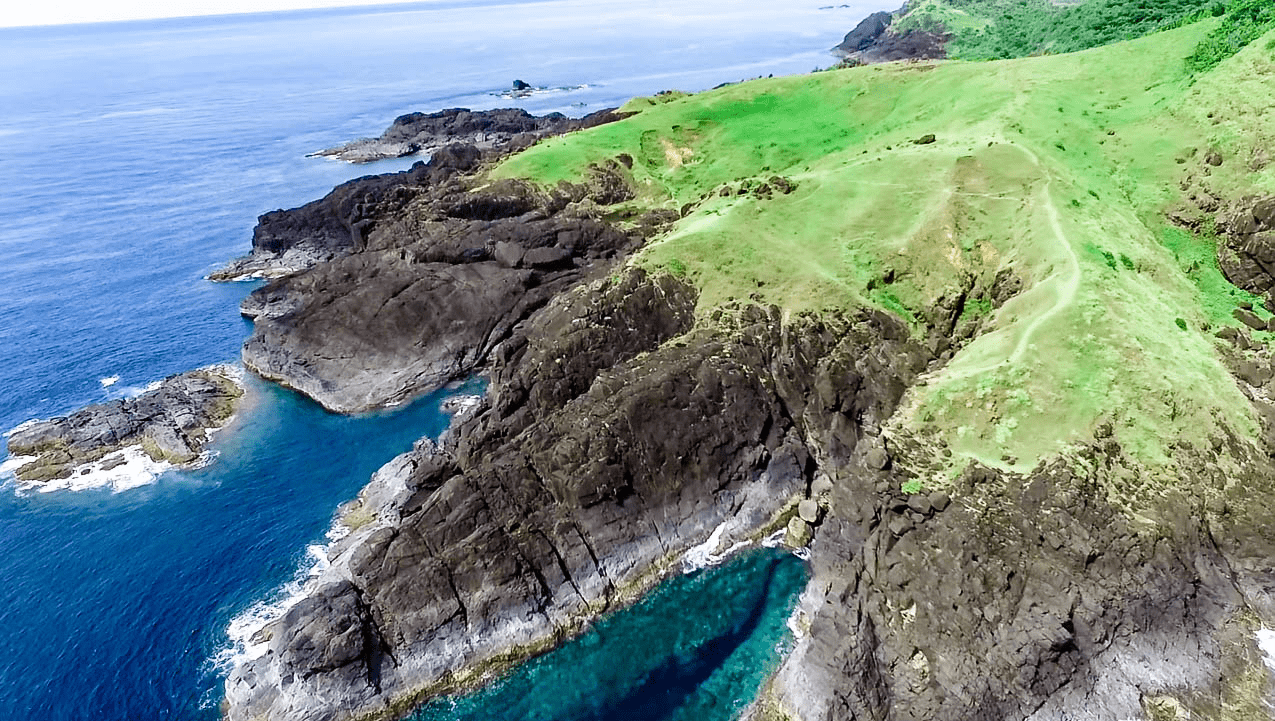beautiful drone image of binurong point natural attraction and viewpoint in catanduanes island philippines
