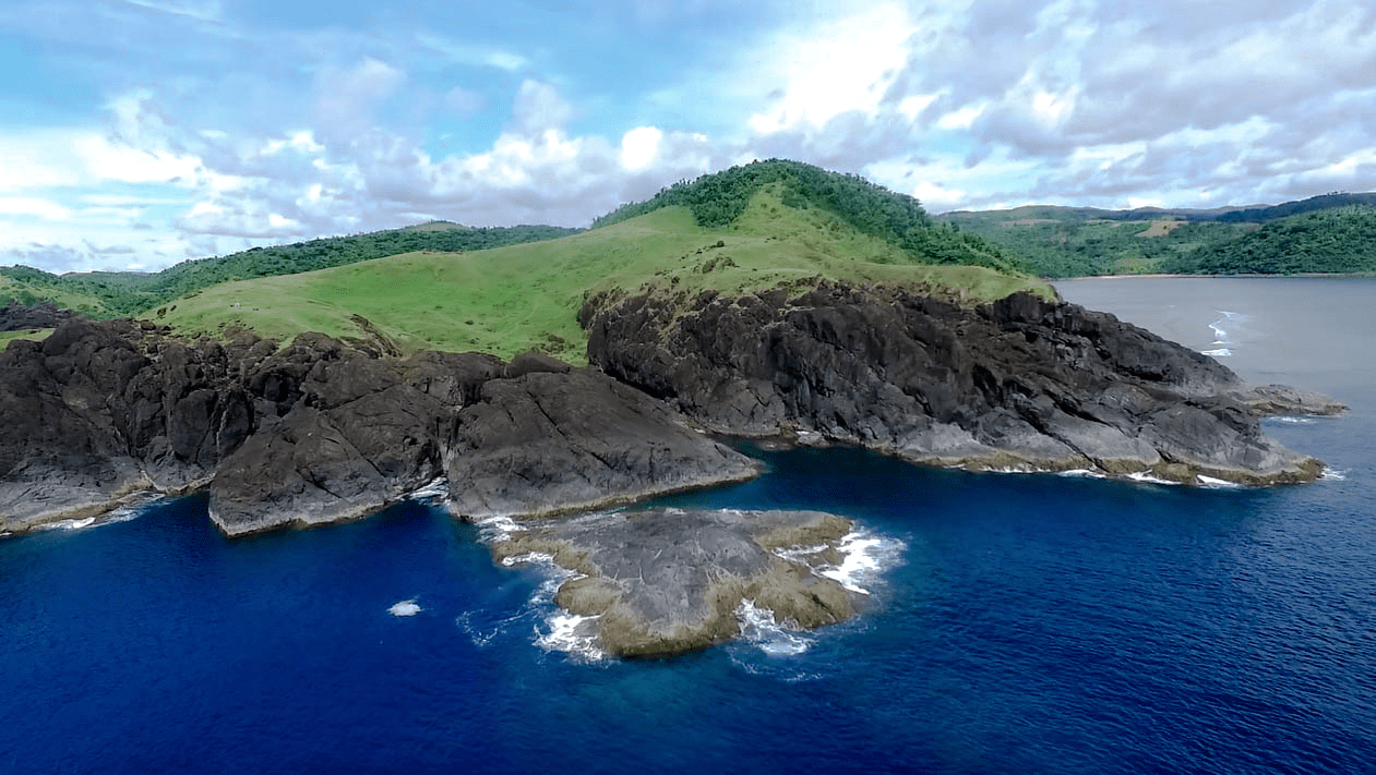Binurong Point natural landmark and viewpoint in the Catanduanes Province Philippines shot by drone footage
