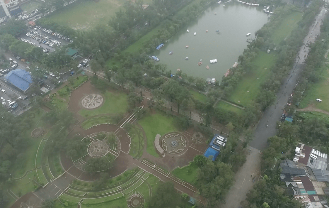 burnham park from above from the sky drone footage baguio city philippines
