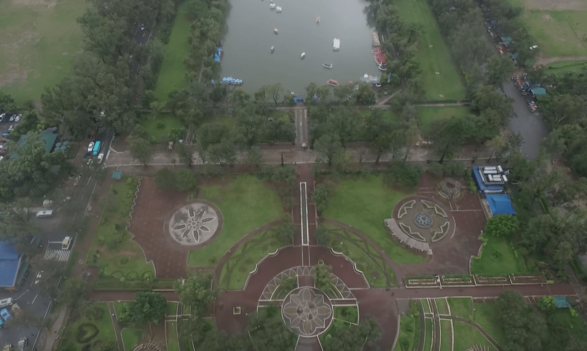 burnham park baguio city from above as seen by drone image