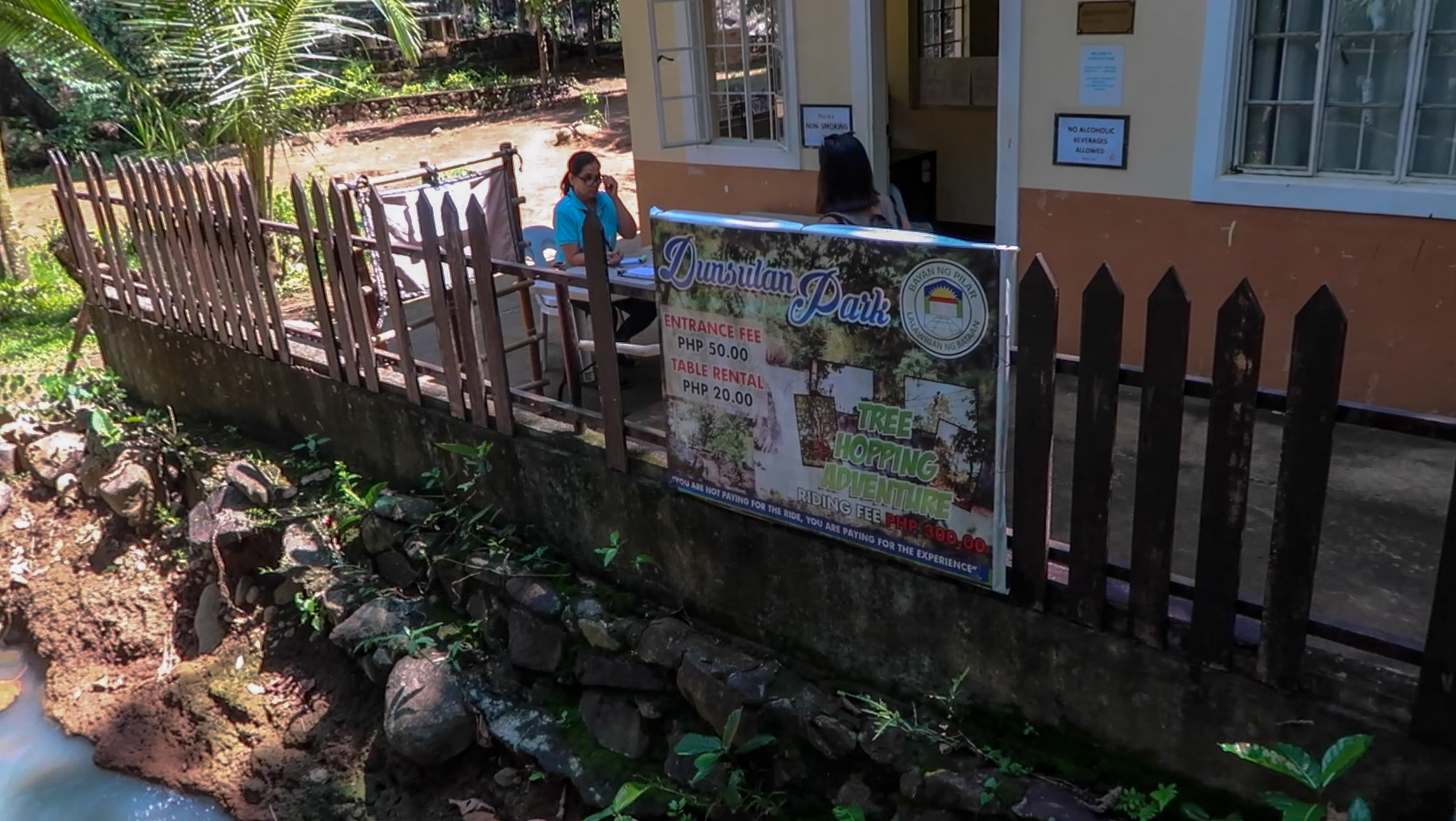 entrance and administration house of dunsulan falls in bataan philippines