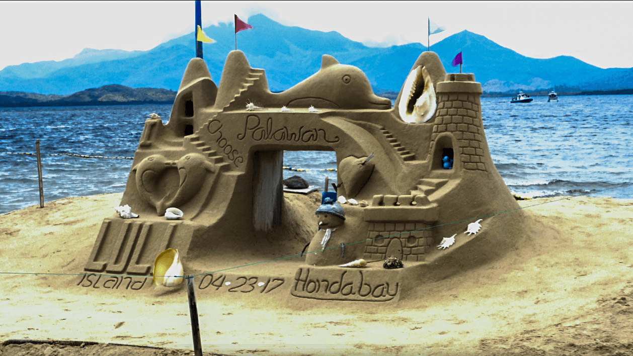 sandcastle built at luli island as part of the honda bay island hopping tour in palawan philippines