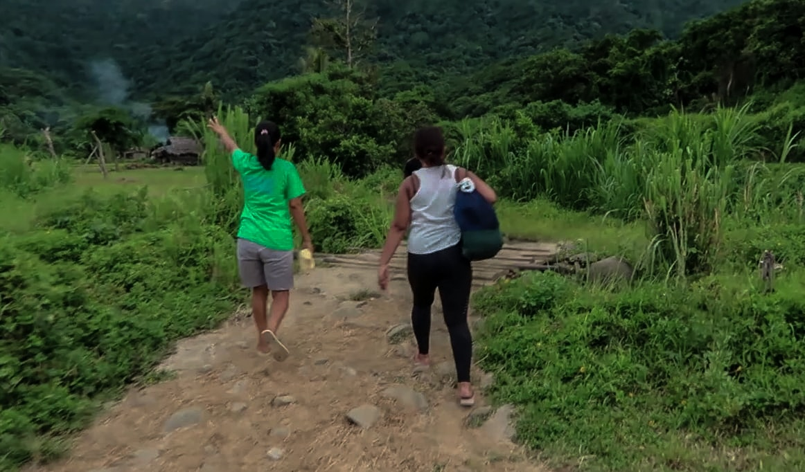 tourguide and visitor walking through farmlands going to the kabigan falls in pagudpud ilocos norte philippines