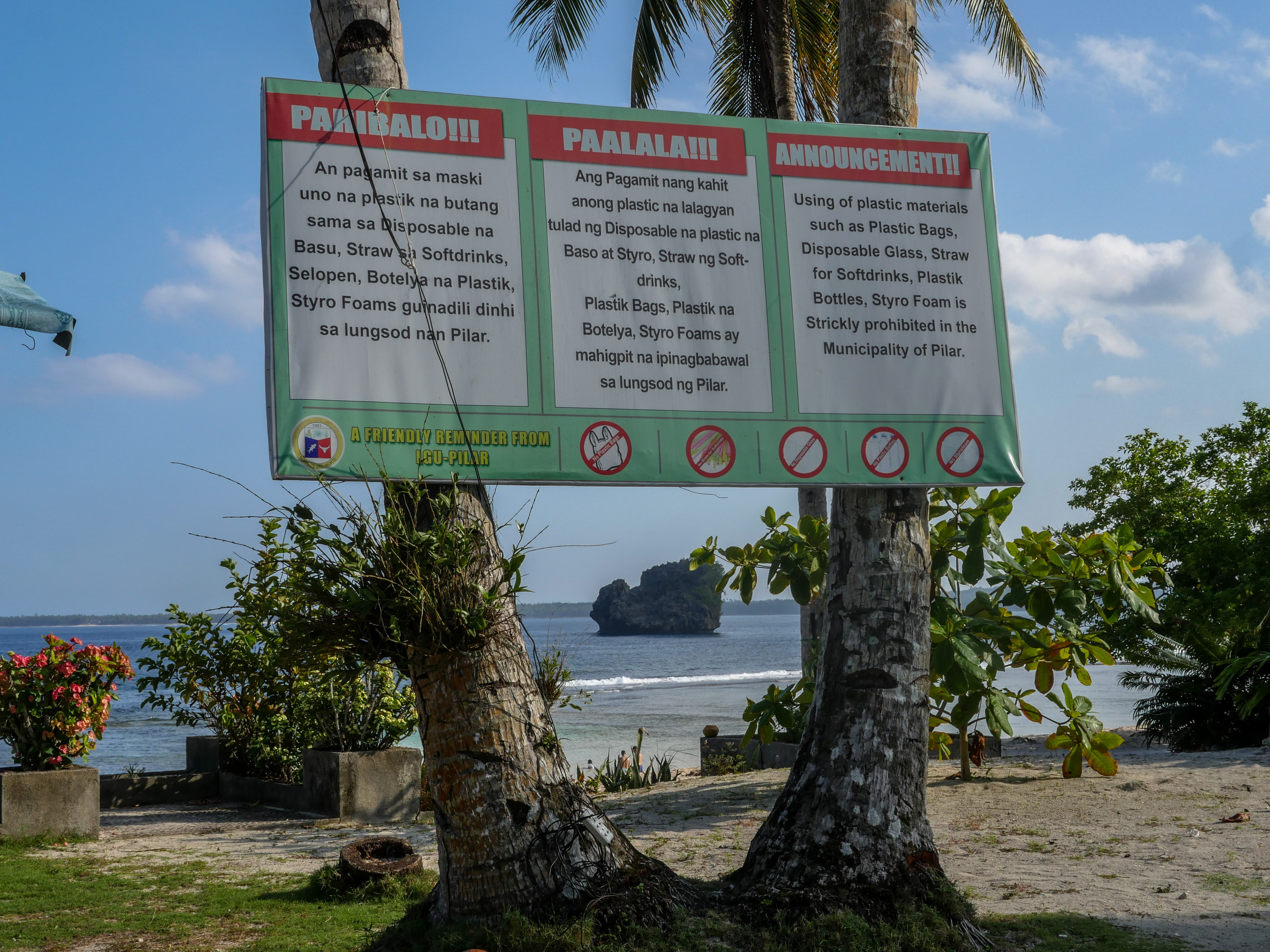 sign for clean magpupungko beach in siargao island