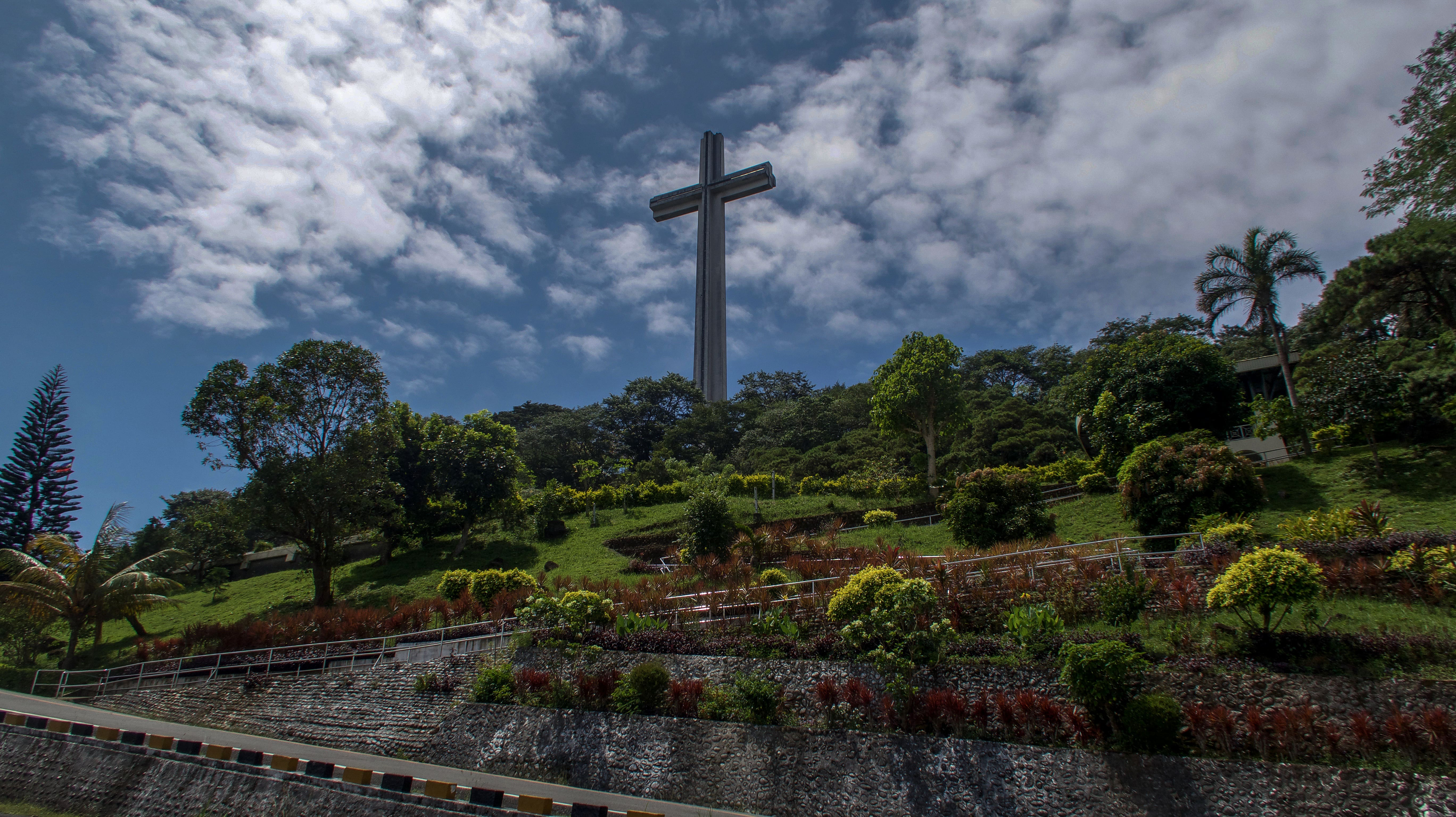 Memorial cross and well maintained gardens in bataan philippines