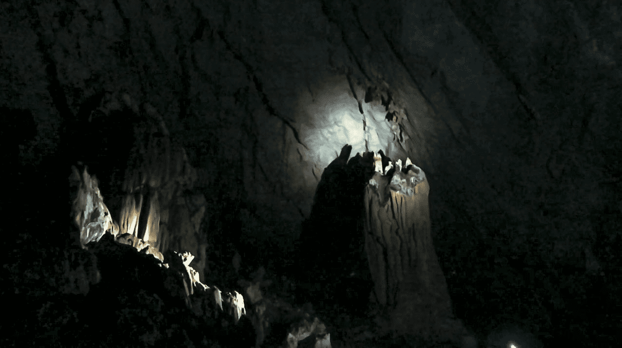 large chamber with big stalagmite in the puerto princesa underground river in palawan philippines