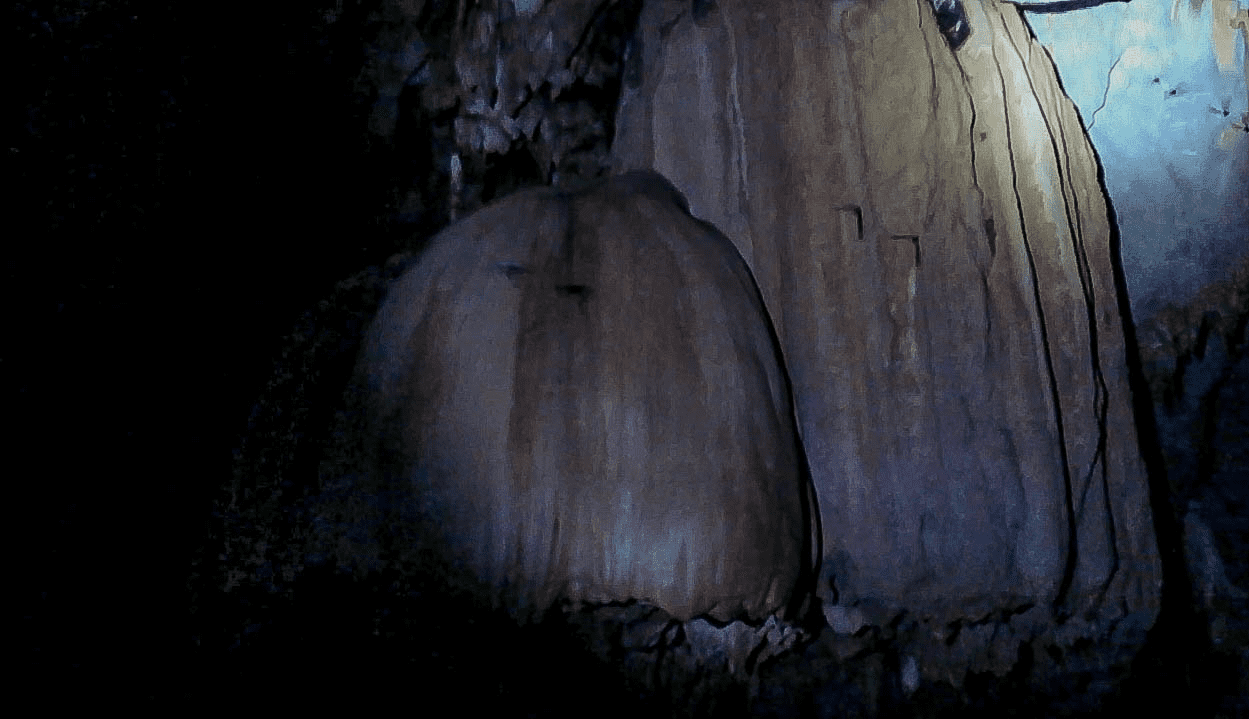 mushroom shaped rock formations and stalagmites and stalagtites in the puerto princesa underground river in palawan philippines