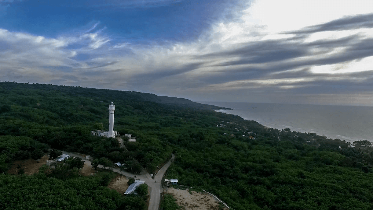 cape bolinao lighthouse in pangasinan province philippines beautiful drone photo