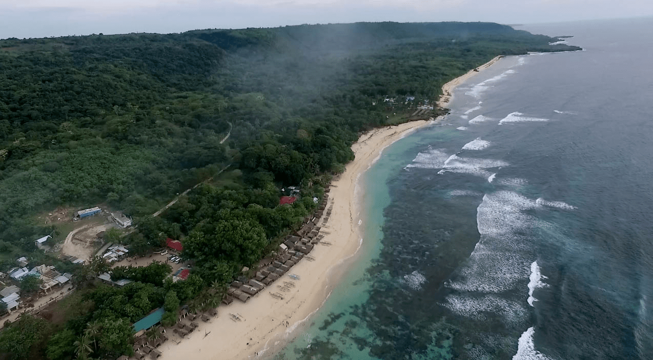 patar white sand beach in bolinao pangasinan philippines nice drone shot
