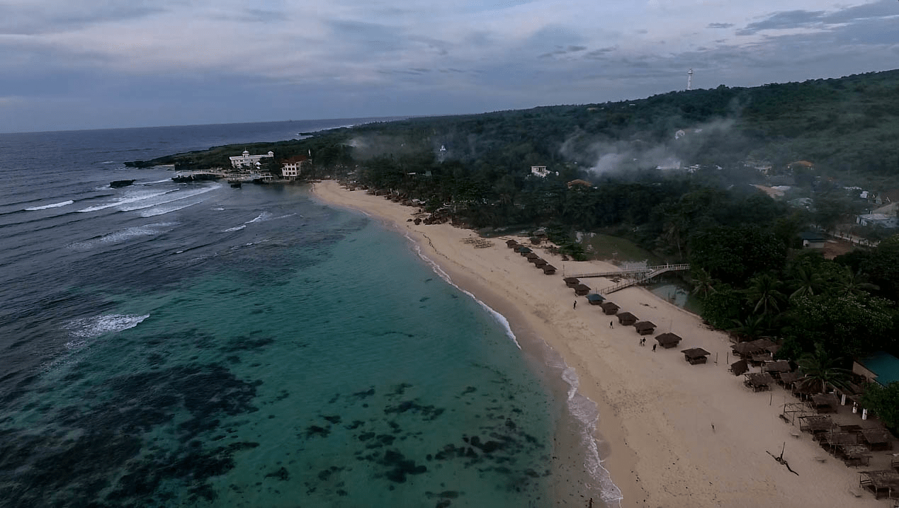 patar white sand beach in bolinao pangasinan philippines beautiful drone image