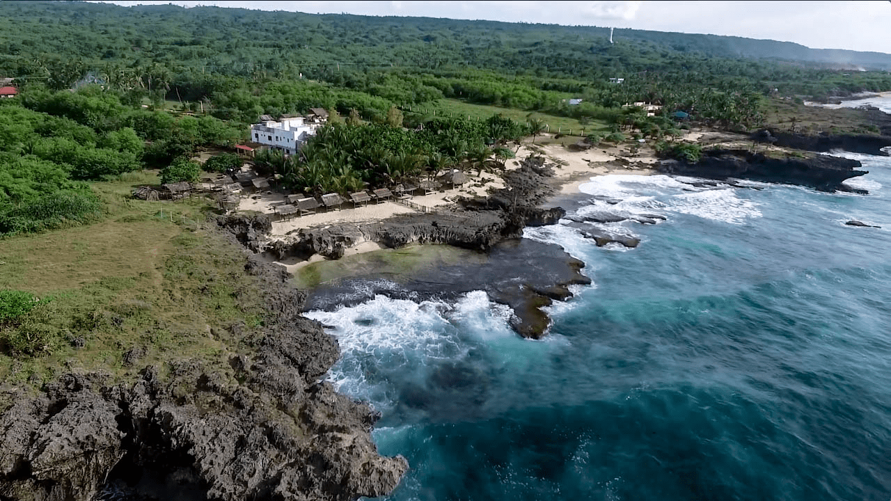 patar rock formation in bolinao pangasinan philippines beautiful drone shot
