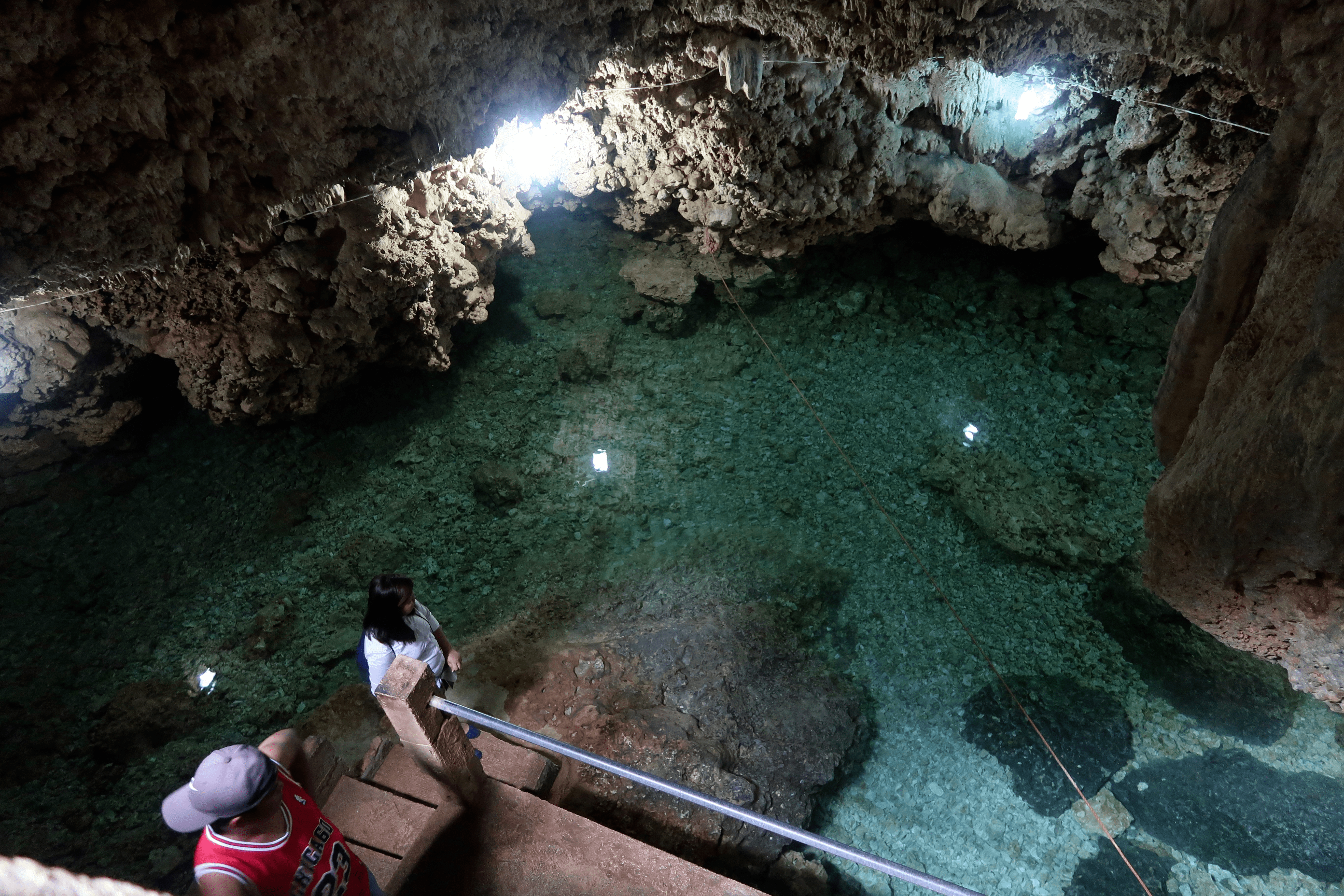 melody somido girl and boy filipino inside wonderful cave in bolinao pangasinan philippines