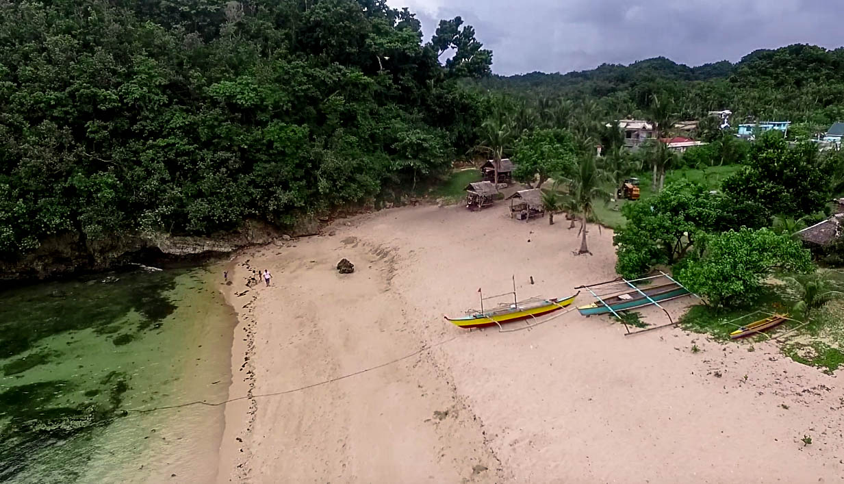 drone picture of talisoy beach in virac catanduanes philippines