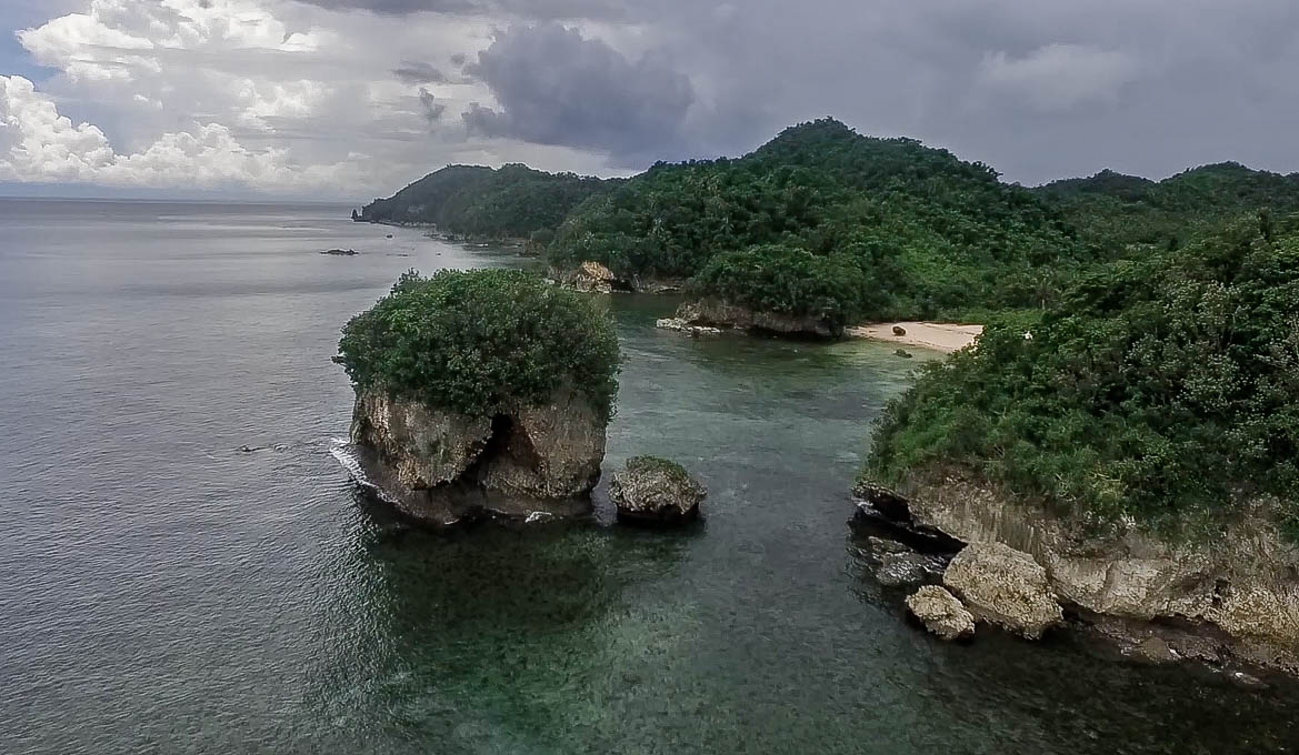drone photo of rock formation at talisoy beach in virac catanduanes philippines