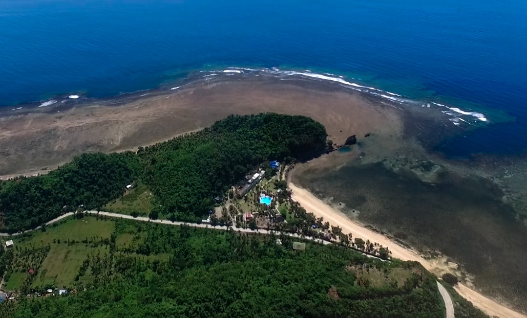 Twin rock beach resort seen from high above drone picture in catanduanes philippines
