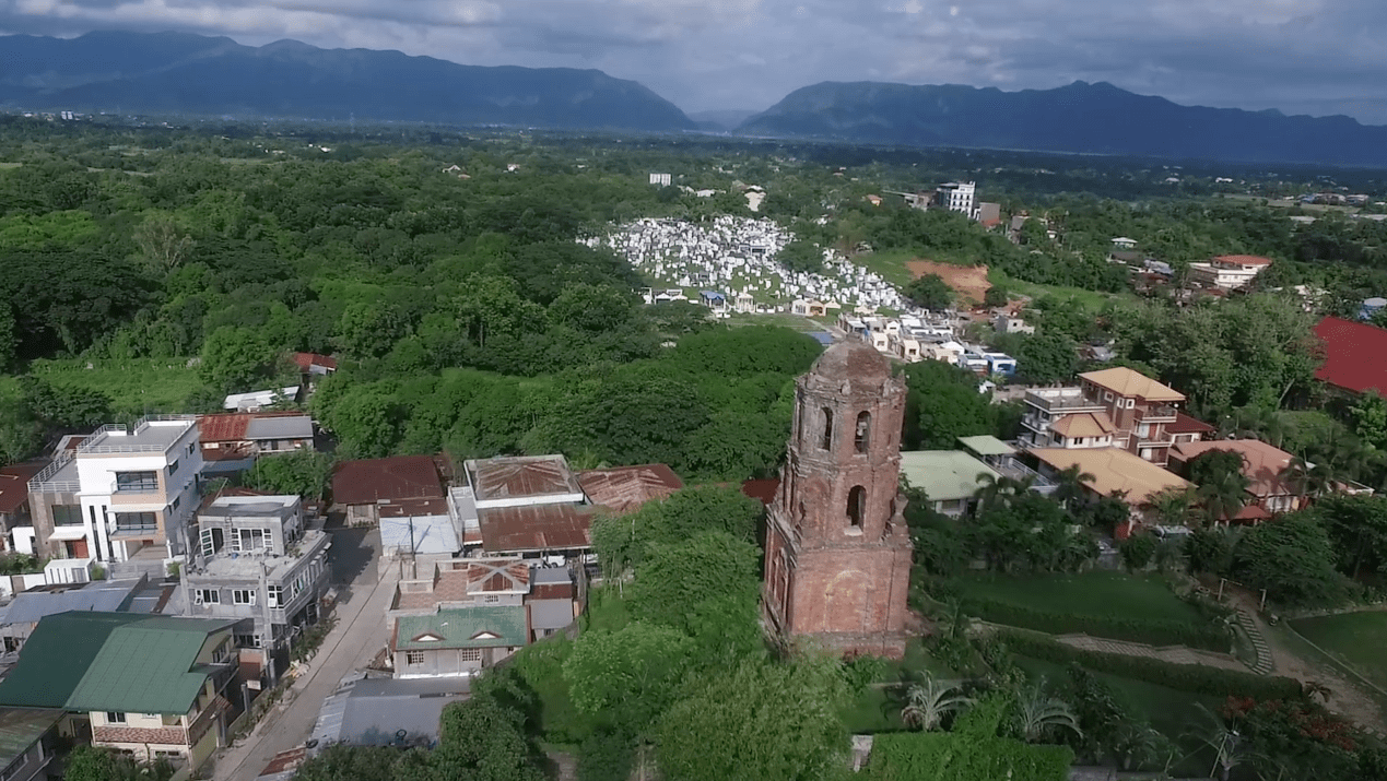 the bantay watchtower or bantay church belltower is a major touristic attraction in Vigan City, Ilocos Sur, Philippines. Drone footage as seen from the sky, aerial footage.