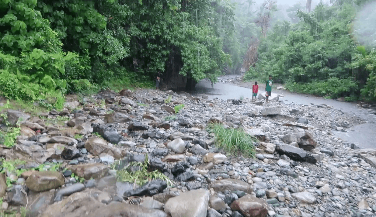 rain and wet rocks at rocky river in catanduanes province philippines