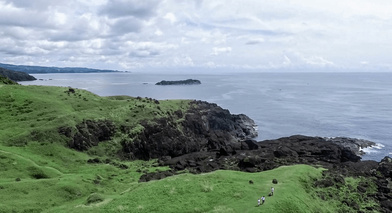 the beautiful natural landmark point binurong in catanduanes province philippines drone photo footage