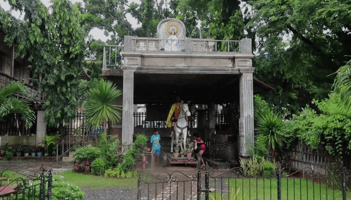christianity scene with horse at old bolinao church in pangasinan philippines