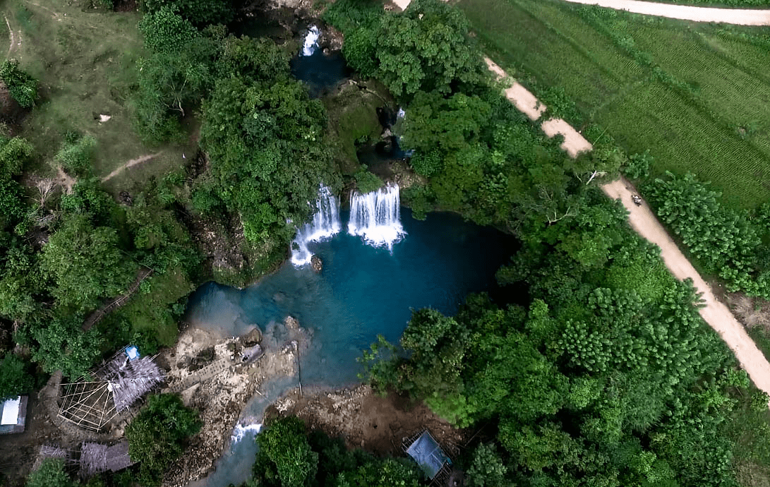 bolinao 1 falls waterfall in pangasinan province philippines shot by drone image photo