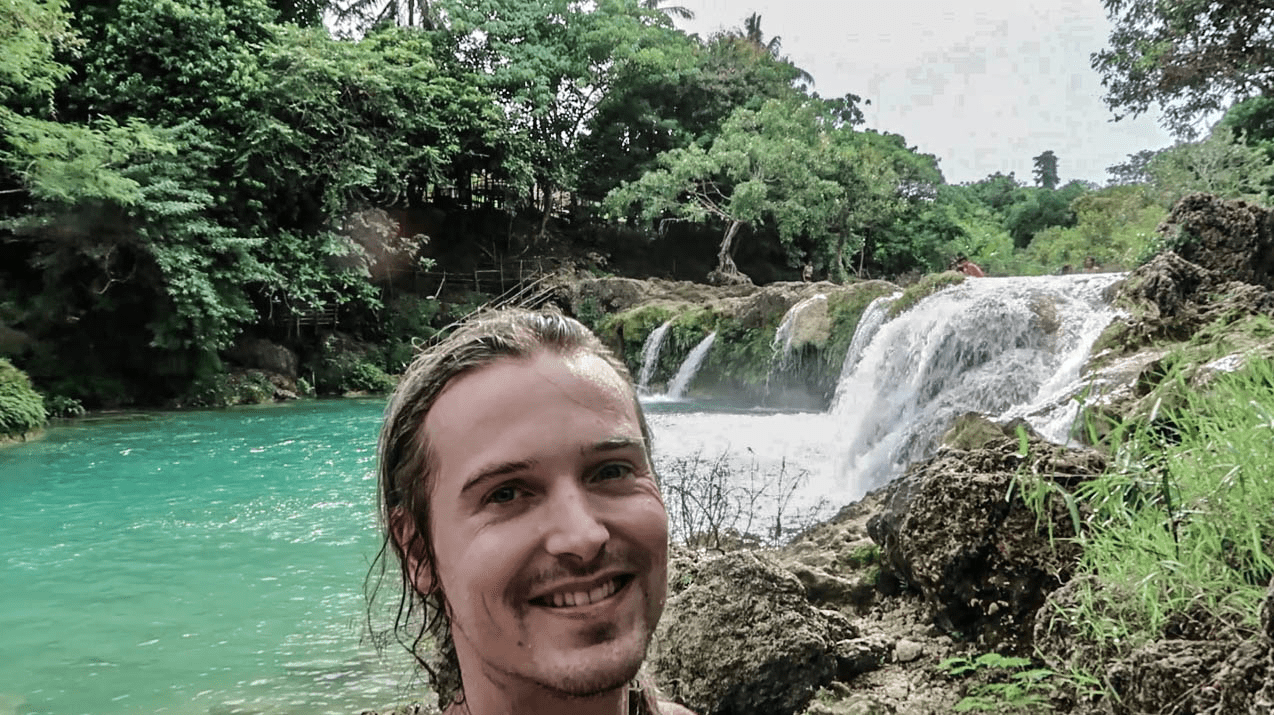 lenny through paradise smiling selfie at bolinao falls waterfall 2 in pangasinan province philippines