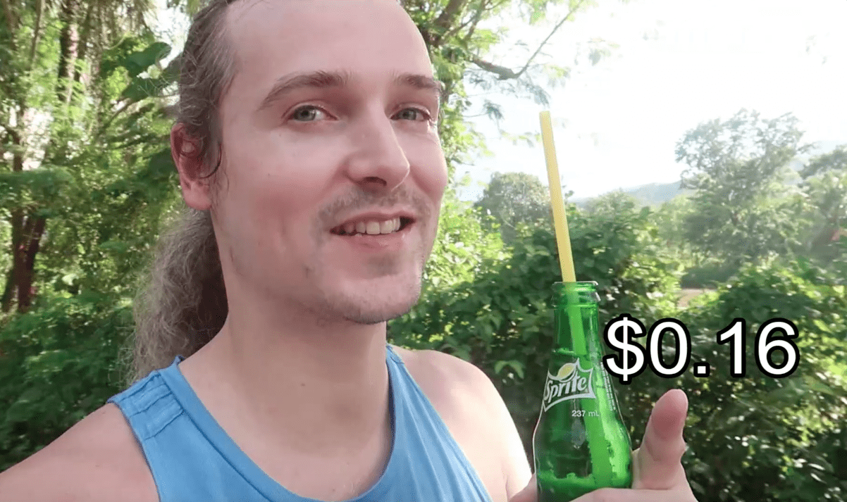lennythroughparadise with sprite pointing out the price he paid for it