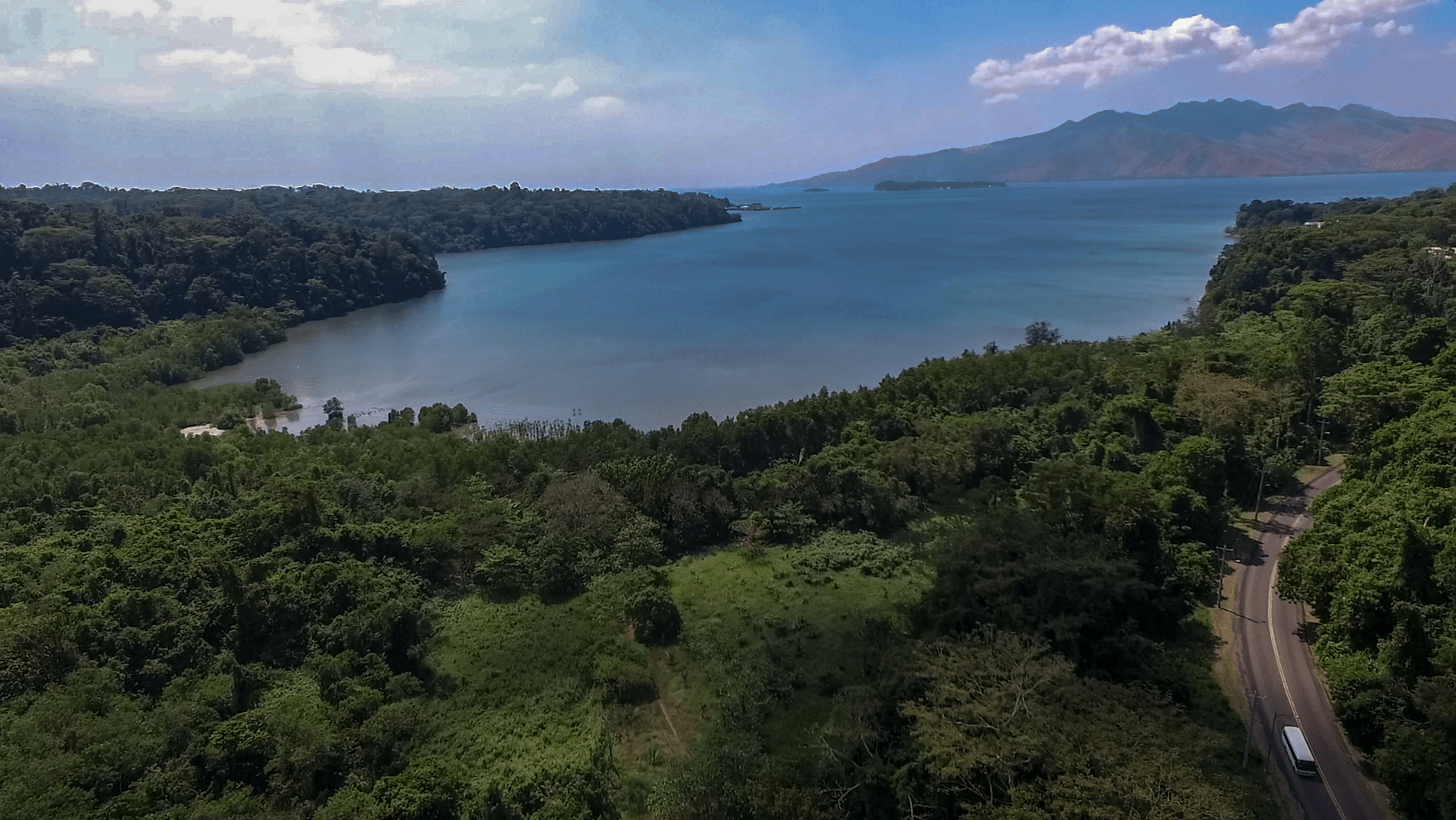 aerial view and drone picture of triboa bay mangrove park and subic bay zambales philippines