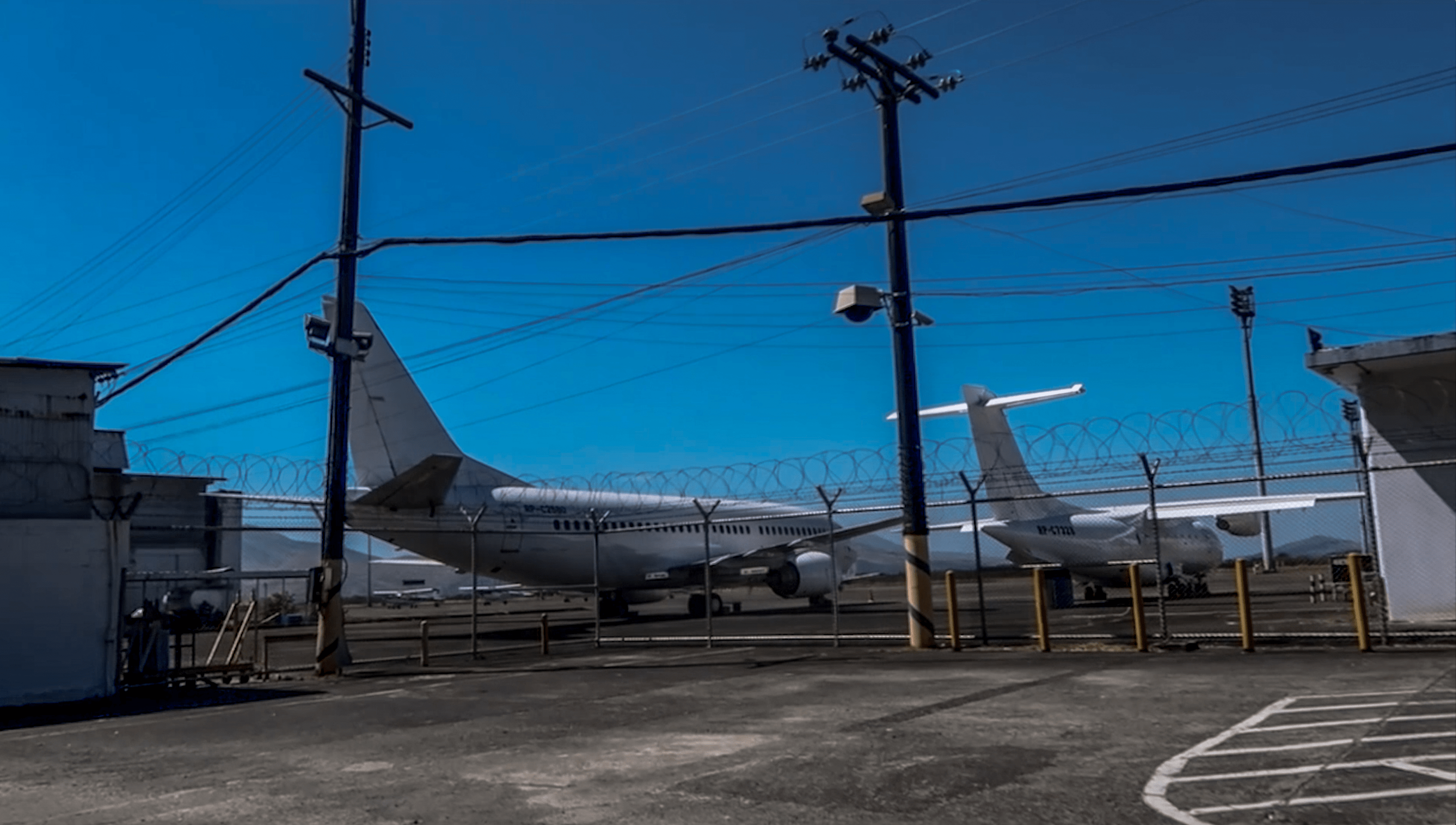 two large airplanes in airport in subic freeport area zambales philippines
